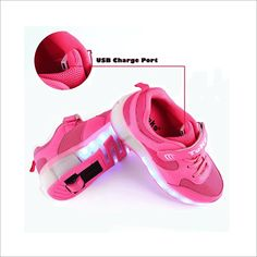 Chic Sources Boys Girls Rechargeable Light up Roller Shoes Wheeled LED Skate Sneakers
