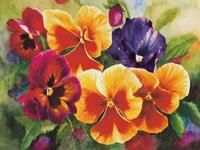 "Watercolor painting of colorful pansies by artist Lisa Hill titled ""Pansy Mix"""
