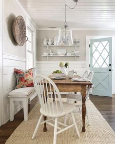 "This is PERFECTION! SO ""Jen!"" ""This dining space is just so beautiful! I just love that gorgeous blue cottage door, not to mention how that stunning table is made from…"" Cottage Dining Rooms, Dining Room Walls, Gray Kitchen Walls, Shiplap In Kitchen, Rooms Ideas, Sweet Home, Cottage Door, Country Farmhouse Decor, Country Charm"