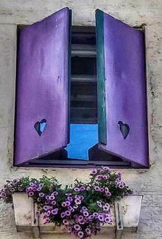 Purple Heart Window Decor - Pantone Color of 2018 Purple Purple Door, Purple Haze, Shades Of Purple, Purple Flowers, Purple Teal, Purple Color Schemes, Window Boxes, Window Shutters, Wooden Shutters