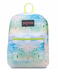 2016 New JanSport + Farm  Super FX Backpack in Multi Praiana Brazil Beach Scene…