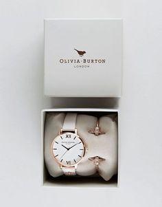 Olivia Burton Bee Mine Leather Watch & Bangle Bracelet OB16GSET04