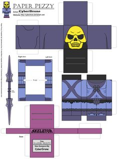 My Paper Pezzy Papercraft of Skeletor (Classic) from the He-Man and the Master of the Universe TV Cartoon. All of the Paper Pezzy Templates are Glue tog. Man Birthday, Birthday Cards, Birthday Ideas, 1980 Cartoons, Carnival Photography, Universe Tv, Outdoor Movie Nights, Movie Night Party, Man Party