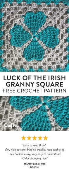 Feeling lucky? Try crocheting this four-leaf clover granny square. Get the free beginner crochet pattern at Craftsy!