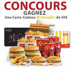 Gagnez une Carte Cadeau McDonald's de 50$ Mcdonald, Food, Pageants, Gift, Cards, Fishing Line, Essen, Meals, Yemek