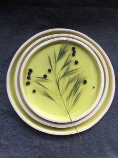 Handmade Ceramic Plates Set of 3 Dinnerware by SonikiCeramics