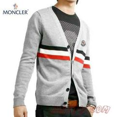Moncler Hommes's V Neck Classic Gris Wool Sweater