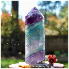 Large Rainbow Fluorite Crystal Tower, Tall Colorful Point, 378 Grams, Healing Stone, Receive EXACT Crystal