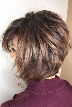 Rounded Layered Bob With Long Wispy Bangs #layeredbobhairstyles #layeredbob #hairstyles #haircuts #mediumbob