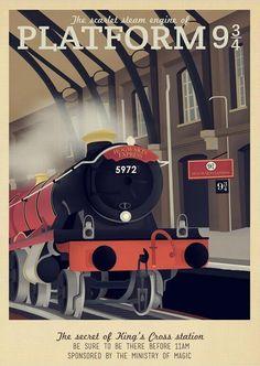 Retro Travel Poster - Harry Potter - Platform 9 Hogwarts Express - MANY… Harry Potter Poster, Theme Harry Potter, Harry James Potter, Harry Potter Universal, Harry Potter World, Hogwarts, Illustrations Harry Potter, Imprimibles Harry Potter, Art Beauté