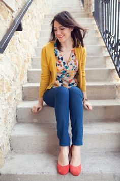 Warm Autumn's mustard yellow is a warm goldenrod. I paired it with a warm turquoise. I love this color combo! Dark taupe is a perfect neutral for a warm autumn.    In the featured photo (Photo via KendieEverday), she's wearing a Warm Autumn mustard yellow cardigan. Her shoes are the