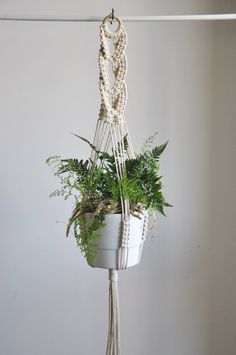 Your place to buy and sell all things handmade - Macrame plant hanger with decorative braid in different variations (see SIZE GUIDE below) Great dec - Indoor Plant Hangers, Hanging Plants, Hanging Baskets, Pot Hanger, Wall Hanger, Modern Macrame, Wedding Plants, Grands Pots, Boho Dekor