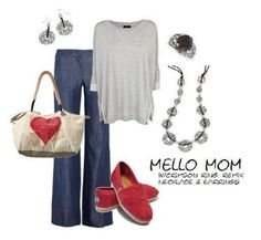 Premier Valentine's outfit gray poncho sweater with jeans and red Toms for spunk