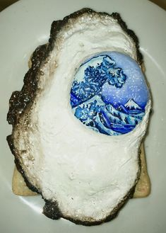 GCSE Art 'Frozen' : painted clay fried egg on toast, with Hokusai's The Great Wave Off Kanagawa as the yolk Perfect Fried Egg, Perfect Fry, Fried Egg On Toast, Egg Toast, Great Wave Off Kanagawa, Gcse Art, Fries, Eggs, Clay