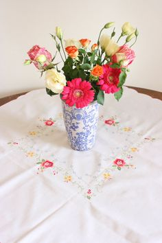 French Vintage Embroidered Tablecloth by Chezpetitpica on Etsy, €20.00