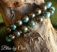 "Pyrite ""Elephant"" Stretch Bracelet Duo -  *FREE SHIPPING* by BlissbyCori on Etsy $50.00"