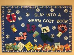 Winter Library bulletin board