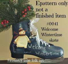 EPATTERN 0041 Welcome Wintertime skate, digital download, paint your own, ice skate, skating snowman, ice skate pattern,