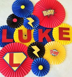 These fans are cheap and can provide a base to put bigger pows and bams. Superhero Theme Paper Fan Backdrop- Set of Superhero Birthday, Comic Birthday, Superhero Decoration, Superhero Baby Shower by Superman Birthday Party, Avengers Birthday, 4th Birthday Parties, Birthday Ideas, 3rd Birthday, Batman Party, Marvel Baby Shower, Superhero Baby Shower, Avenger Party