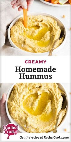 You're going to love this easy homemade hummus recipe! It's easier than you think to make your own hummus dip at home. It's also more economical and can be made in just five minutes! Creamy and rich, this appetizer is satisfying and healthy. Enjoy it as a guilt-free dip for vegetables or pita wedges, or spread it on sandwiches as a tasty alternative to mayonnaise. Hummus is simple to make, with only five ingredients (not counting water, salt, + pepper). Add this to your snack menu for the week! Vegetable Dips, Hummus Recipe, Hummus Dip, Dip Recipes, Snack Recipes, Homemade French Onion Dip, 7 Layer Dip Recipe, Tzatziki Recipes