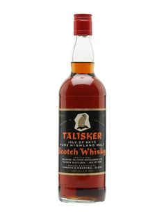 A lovely old bottle of 1952 Talisker bottled, we estimate, in the by Gordon & Macphail. These bottles are highly prized by malt aficionados and are extremely difficult to find nowadays. Scotch Whiskey, Irish Whiskey, Bourbon Whiskey, Alcohol Bottles, Old Bottles, World Of Whisky, Fine Frenzy, Whiskey Brands, Malt Whisky