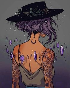 Witch illustration graphic art crystals and tattoos Art And Illustration, Crystal Illustration, Landscape Illustration, Art Manga, Anime Art, Fantasy Kunst, Fantasy Art, Fantasy Witch, Character Inspiration