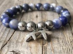Starfish gemstone bracelet woman blue bracelet Stretch