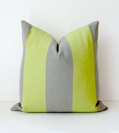 Chartreuse and Grey Stripe Decorative Designer Pillow Cover x Accent Throw Cushion neon striped cottage modern gray lime green Throw Cushions, Pillows, Lime Green Decor, Pillow Room, Pillow Cover Design, Deco Furniture, Grey Stripes, Green And Grey, Yurts