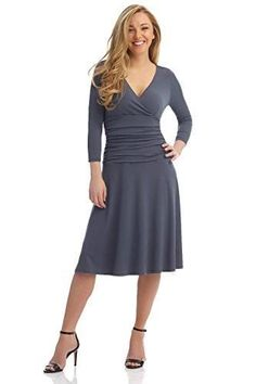 1395dcefafb Rekucci Women s Slimming 3 4 Sleeve Fit-and-Flare Crossover Tummy Control  Dress