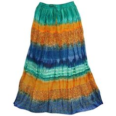 Women's Skirts Holiday Tie Dye Gypsy Orange Maxi Skirt M ❤ liked on Polyvore featuring skirts, long skirts, tie dye skirts, holiday skirts, evening skirts and long evening skirts