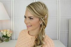 The Twisted Side Ponytail Side Hairstyles Tutorial, Ponytail Tutorial, Hairstyle Tutorials, Side Ponytail Wedding, Wedding Updo, Wedding Reception, Wedding Ideas, Latest Hairstyles, Easy Hairstyles