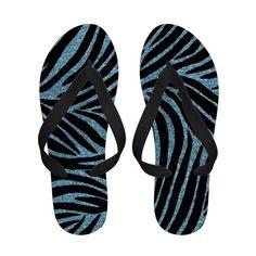 Aqua Faux Glitter Zebra Print Flip Flops