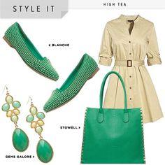 Estilazo, este outfit completo en tonos verdes, combinado con beig. Muy francés! By alhuca