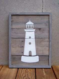 Reclaimed Wood Lighthouse Painting by Rustic Wood Originals, $140.00