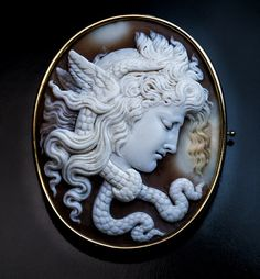 Antique Italian Carved Shell Cameo Medusa Gorgon Brooch - Antique Jewelry | Vintage Rings | Faberge Eggs