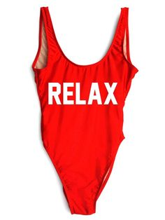 RELAX One-Piece Slogan Swimsuit