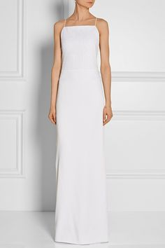 Grace MMXIII - Bean macramé and satin maxi dress