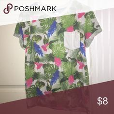 90cbf0392e4 Floral Tee w  pocket. White TeesTropical