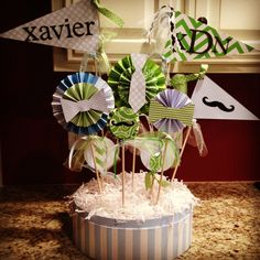 Little Man mustache, bow tie, and neck tie baby shower centerpiece! Lil Man Baby Shower, Baby Shower Gifts For Boys, Baby Shower Games, Baby Showers, Little Man Party, Little Man Birthday, Baby Shower Table Centerpieces, Baby Shower Decorations, Baby Shower Themes Unisex