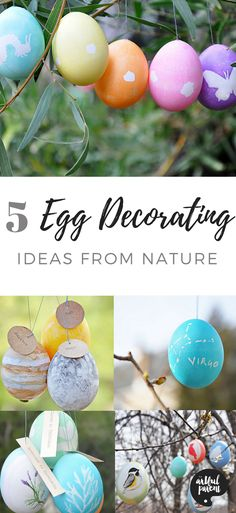 Sarah Olmsted of Imagine Childhood shares five egg decorating ideas for Easter inspired by nature and the world around us. Great ideas for kids of all ages! #easter #eastereggs #artsandcrafts #eastercrafts #kidsactivities #kidscrafts