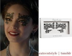 catcentstyle:    Catherine..Beauty and the beast  masquerade ball..Fleurty Face Lace   around her eyes.    Find these face lace HERE