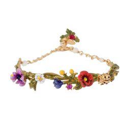 Multi elements of a japanese garden semi rigid bracelet ($160) ❤ liked on Polyvore featuring jewelry, bracelets, daisy jewelry, 14 karat gold bangle bracelet, 14k bangle, rhinestone bangle bracelet and 14k bangle bracelet