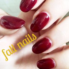 Dark red nails for fall. Gel nail polish manicure