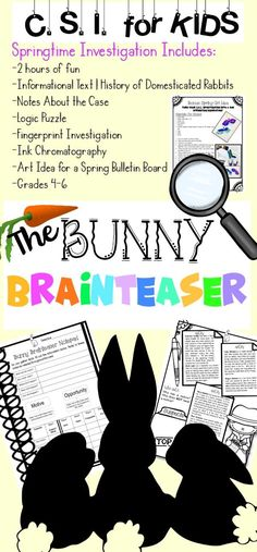 Looking for some Easter Springtime activities for your upper elementary classroom?Try this fun crime scene investigation workshop. It's 2 hours and perfect for your 4th, 5th and 6th grade elementary age students.It includes a spring reading passage, logic puzzle and hands on investigation.Student outlines and teacher directions are included.Fourth, fifth and sixth grade students will be challenged! Great for GATE, homeschool or high ability learners as well!
