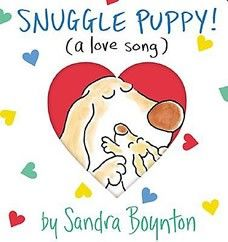 A great big hug in book form, Snuggle Puppy is a year-round valentine from parent to child. It is bright, chunky, a pleasure to hold, and has a die-cut cover that reveals a glimpse of the joy inside before it's even opened. Best of all, it's packed, of course, with pure Boynton: her inimitable language, her inimitable illustrations, her inimitable sense of fun.