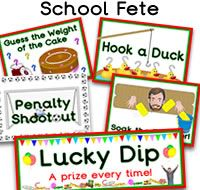 Posters and banners for teachers and organisers to use at a school fete, street fete, festival, carnival or any event where there are stalls at an event. - Posters include Lucky Dip, Human Fruit Machine, Guess the Weight, Tombola, Splat the Malteser, Guess the Weigh of the Cake, Penalty Shootout, Soak the Teacher, Hook a Duck and Guess the Teacher