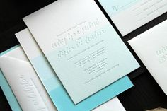Dip Dyed Letterpress Wedding Invitations