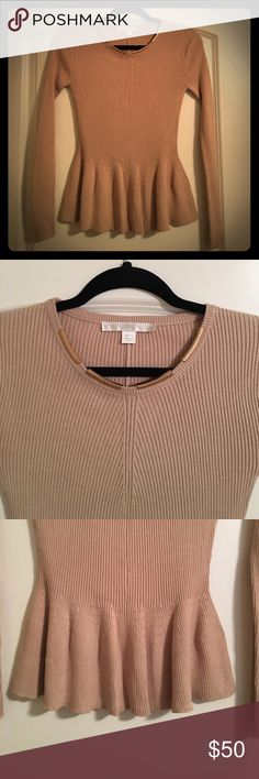 NWOT Boston Proper size small peplum sweater Brand new without tags, never worn Boston Proper size small tan ribbed peplum style sweater with ornate gold clasps around collar. Boston Proper Sweaters Crew & Scoop Necks