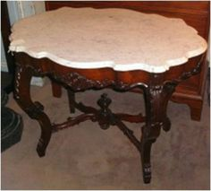 Victorian Marble Top Table, Brookline Village Antiques