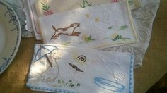 2 White Animal Napkin Cases French Linen by SophieLadyDeParis